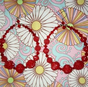 Jumbo TT bright RED rose crystal hoop